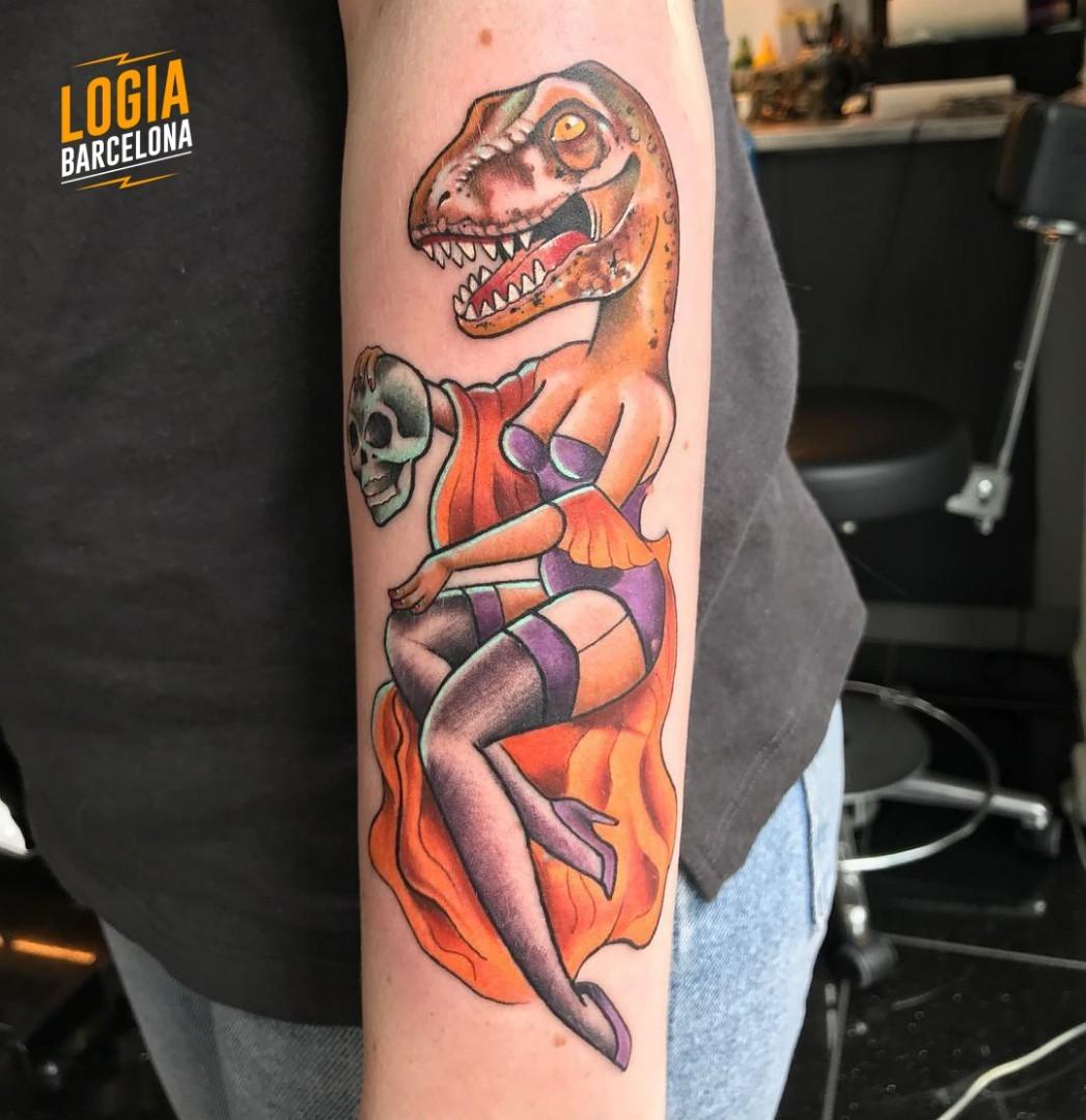 Tatuaje Pin Up Dinosaurio Kathycaboom Logia Barcelona