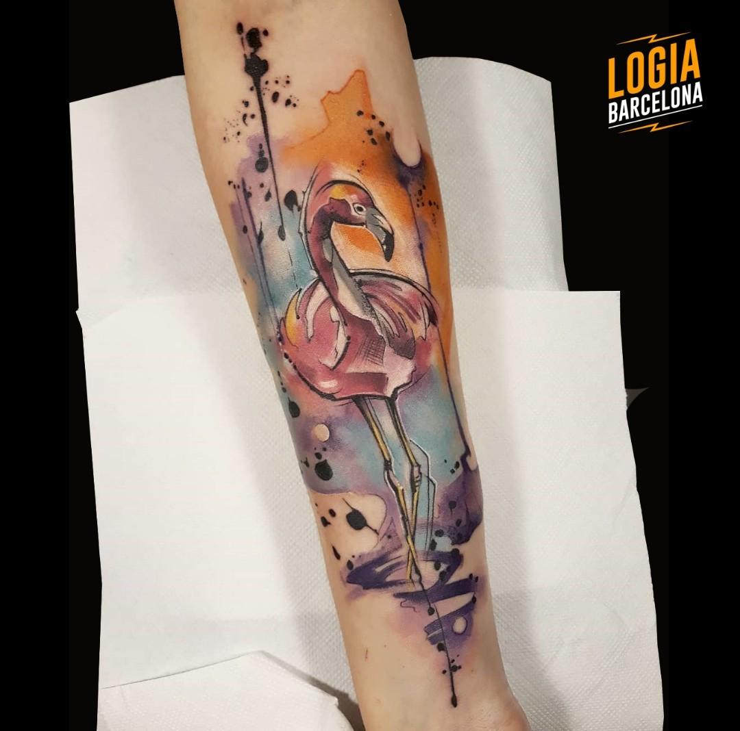 Tatuaje flamenco watercolor Suna Valle Logia Barcelona