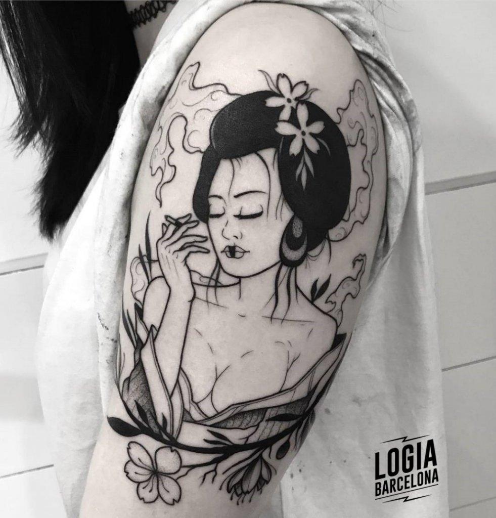Tatuajes de Geishas Blackwork Pepo Errando Logia Barcelona