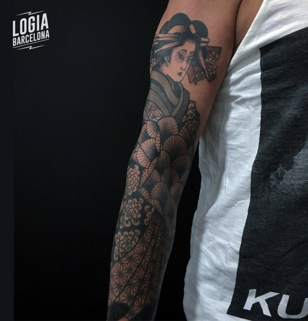 Tatuajes de Geishas Japanese Full sleeve Lelectric Logia Barcelona