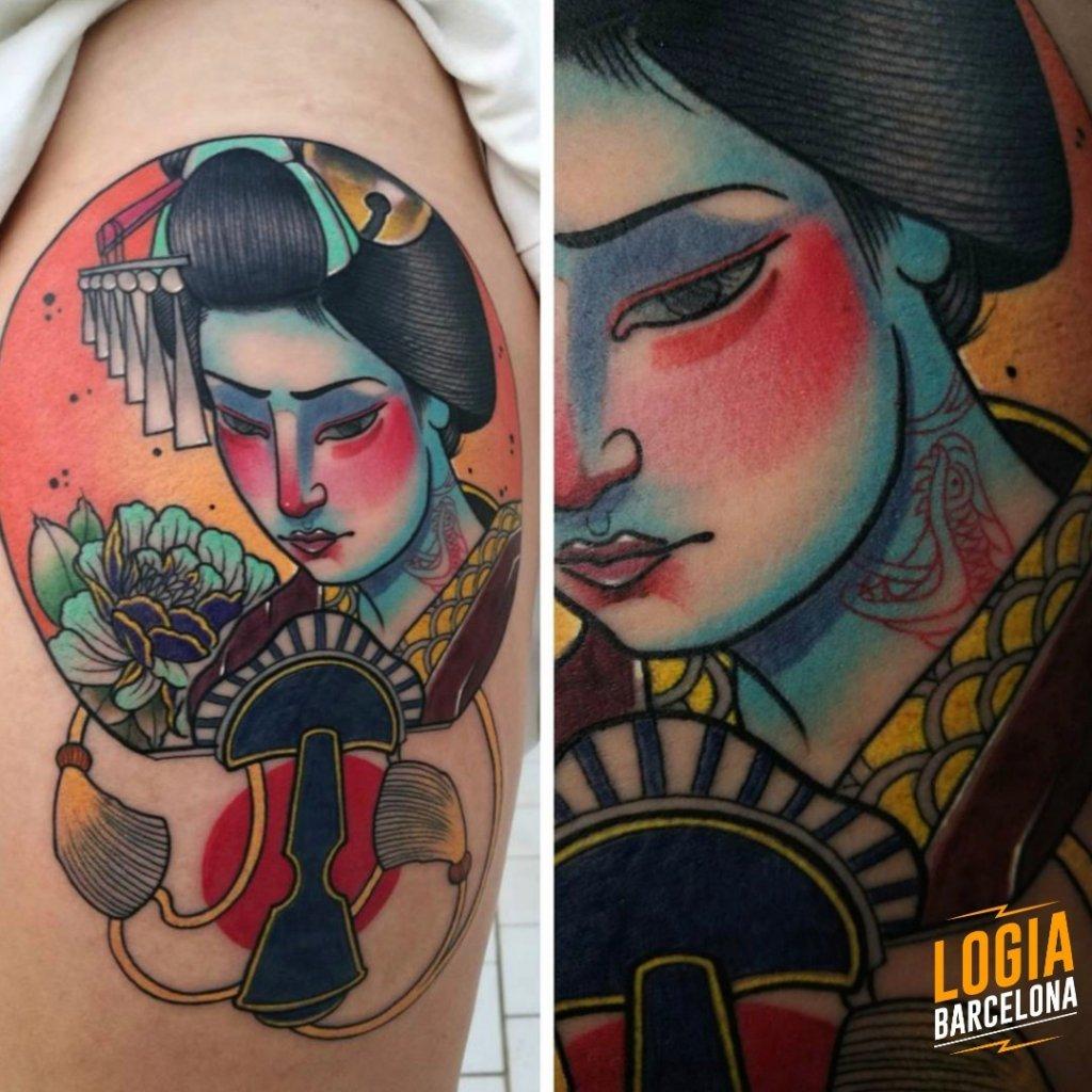 Tatuajes de Geishas Japanese Sauco Logia Barcelona