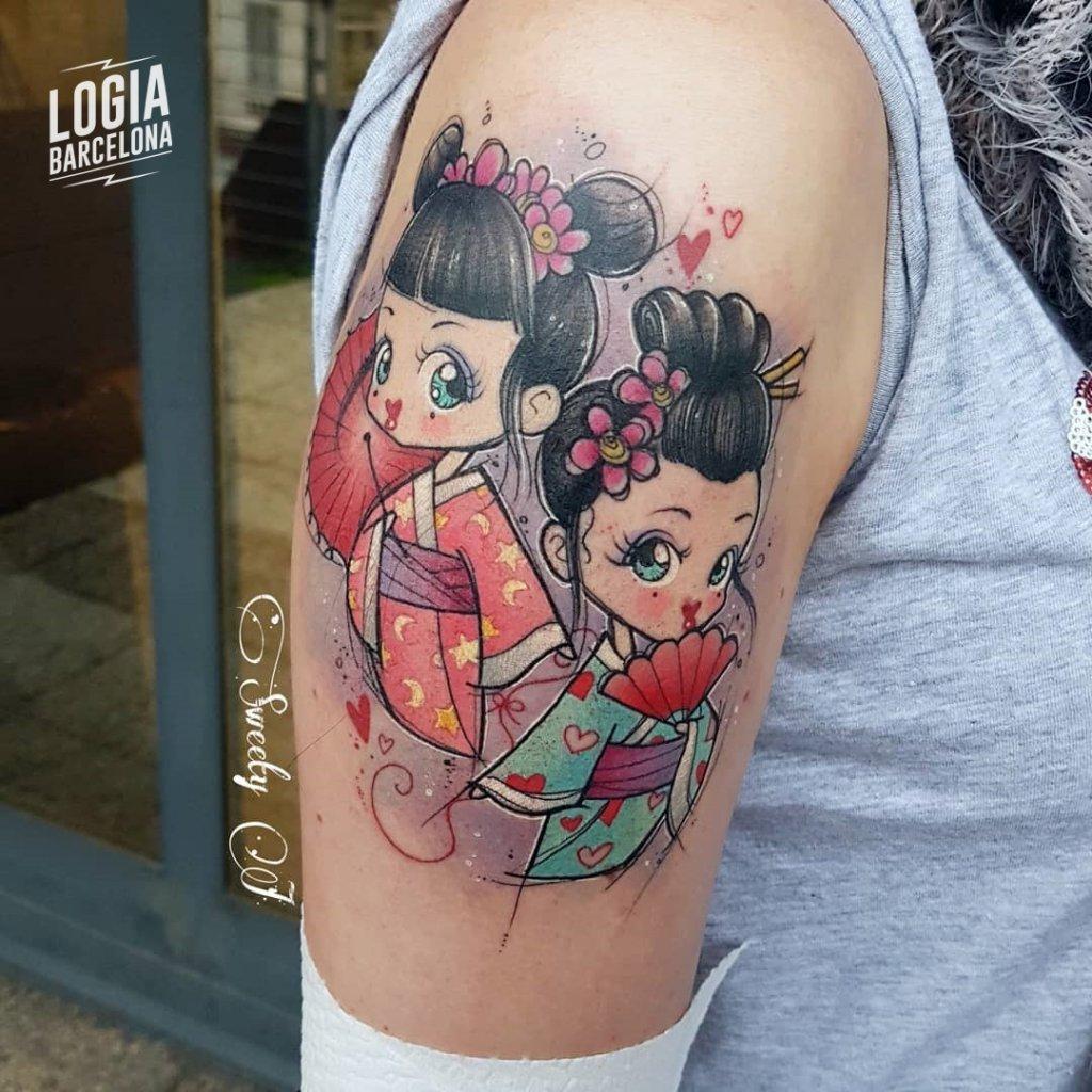 Tatuajes de Geishas Newschool Sweety J Logia Barcelona