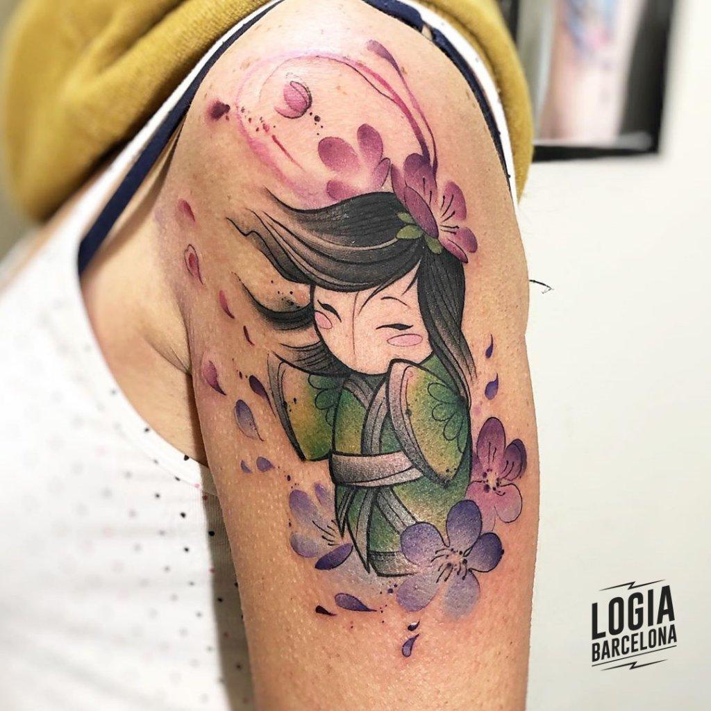 Tatuajes de Geishas Newschool Watercolor Claudia Denti Logia Barcelona