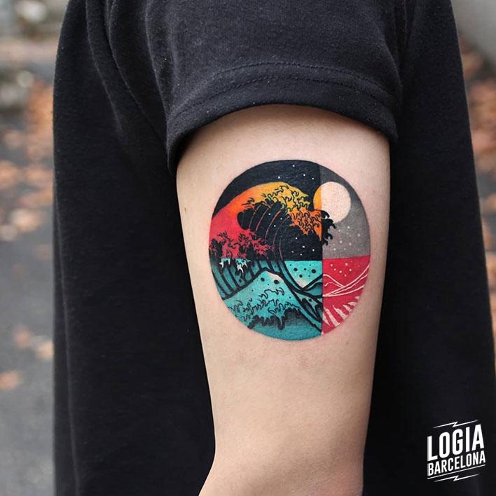 tatuaje_brazo_ukiyo_e_luna_triangulo_color_logia_barcelona_polyc
