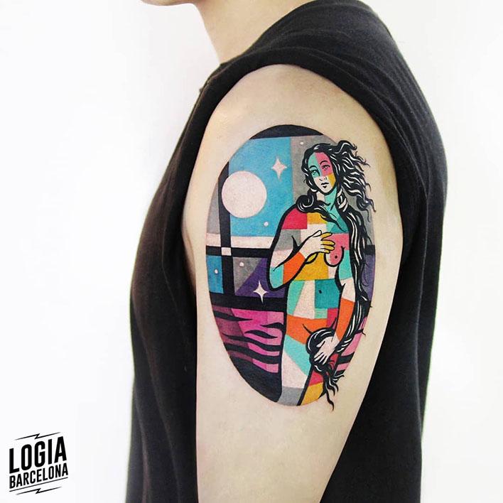 tatuaje colorblock Polyc Logia Barcelona