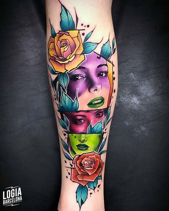 tatuaje caras a color Vinni Mattos Logia Barcelona