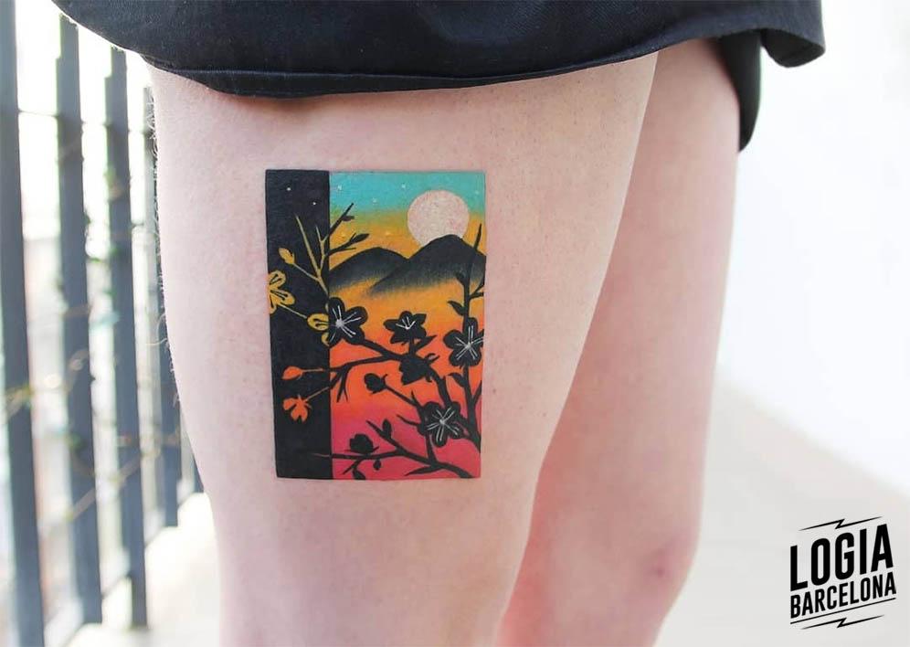 tatuaje colorblock flores Polyc Logia Barcelona