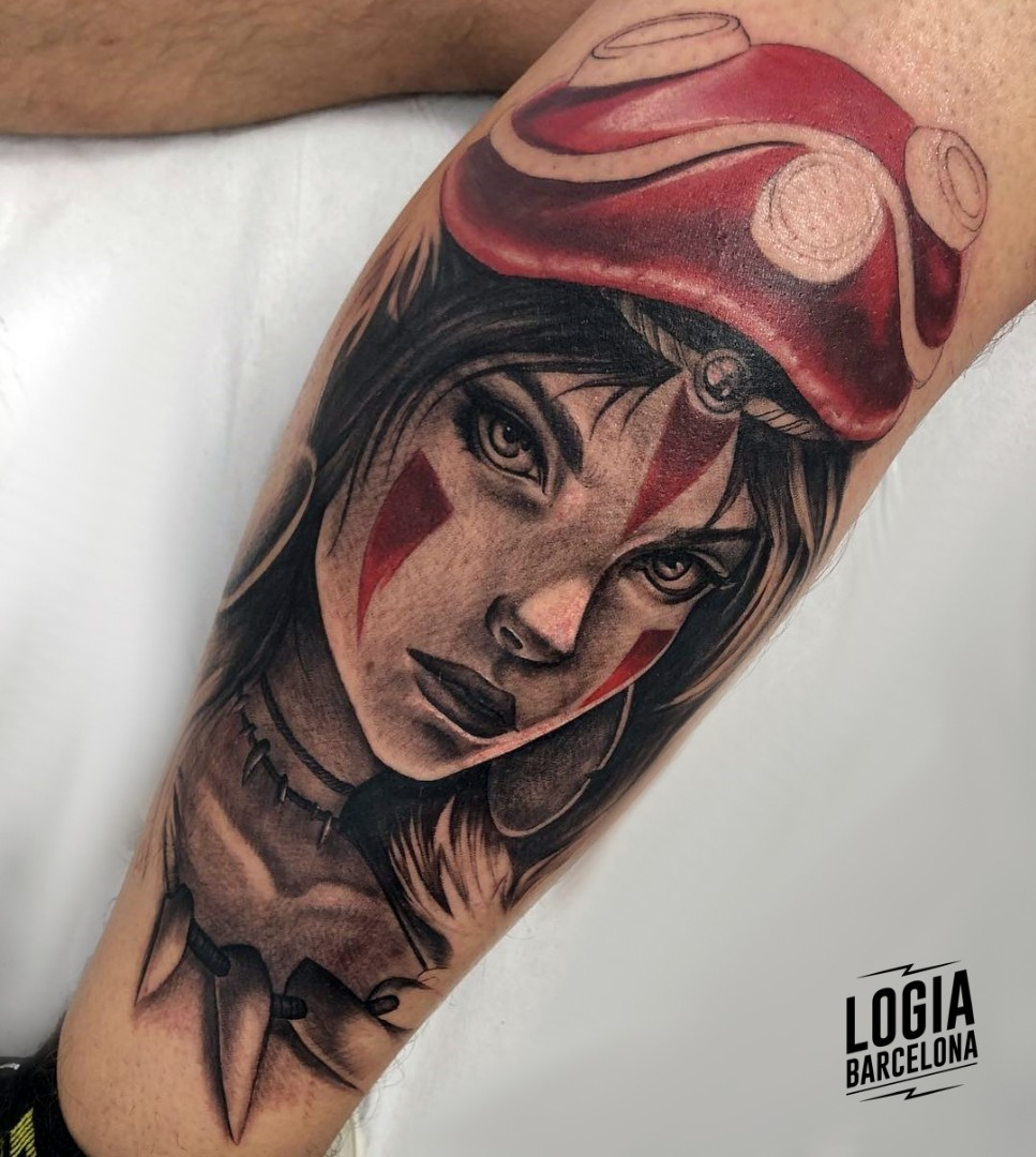 Tatuaje Mononoke guerrera realista Jas Logia Barcelona
