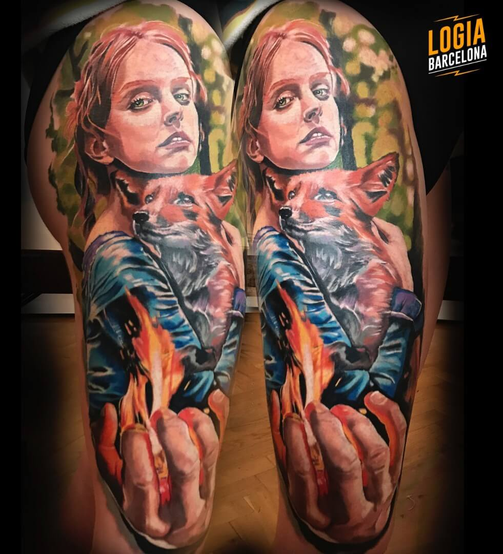 Tatuaje de zorro fuego magia Angel de Mayo Logia Barcelona