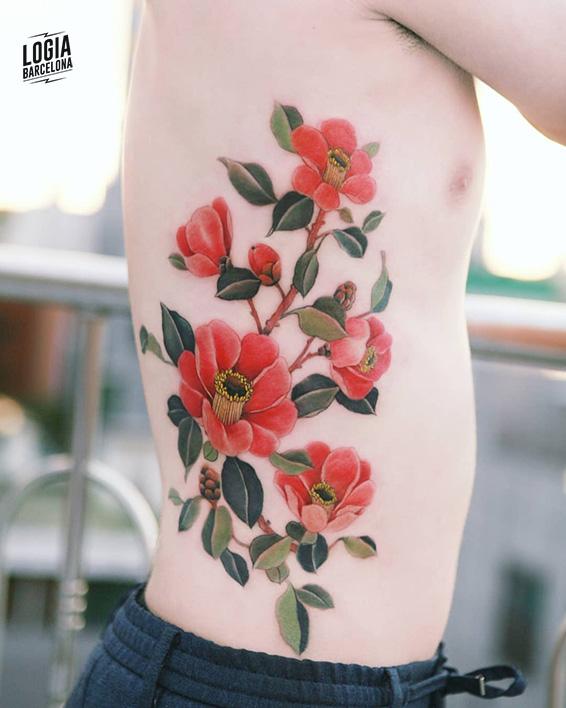 tatuajes rojos flores