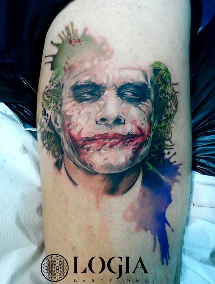 tatuaje del joker watercolor logia barcelona