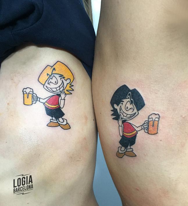 tatuaje para parejas tatuaje zipi y zape - Logia Tattoo Toni Dimoni