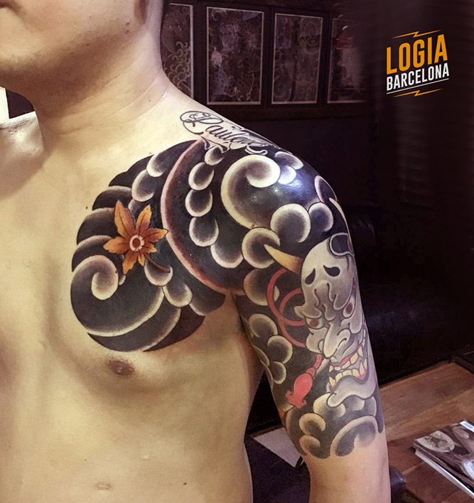 Tatuaje Japones hombro oni - Logia Barcelona Lelectric