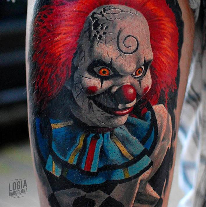 Tatuaje payaso diabolico realista - Marci Blazsek Logia Barcelona