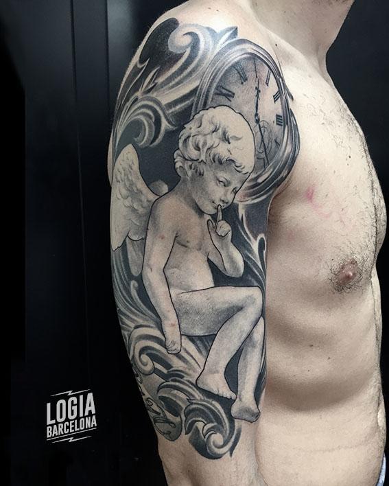 tatuaje angel querubin rococo hombro - Logia Barcelona Zoen