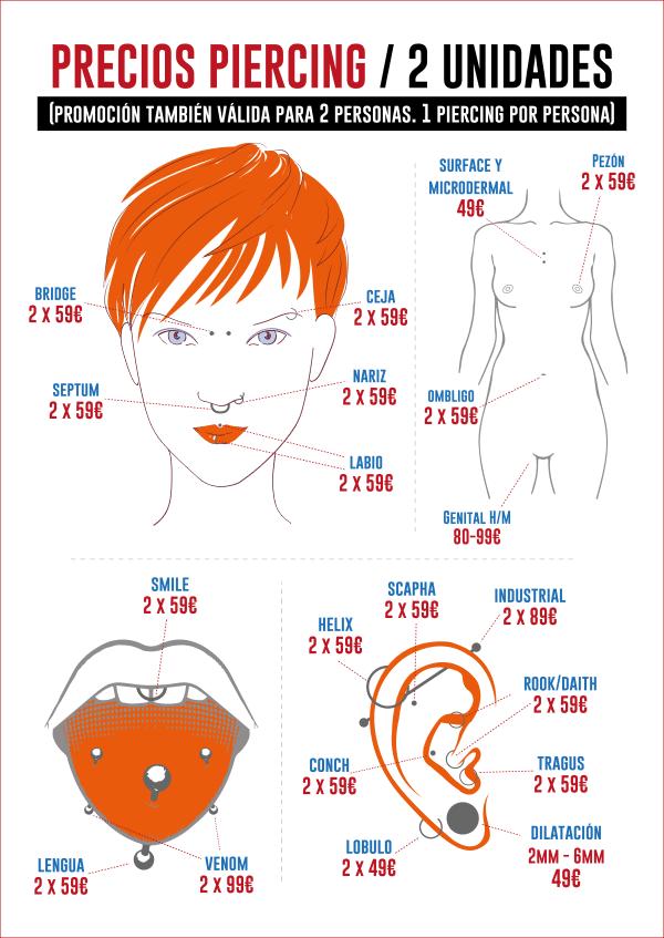 Precios piercing 2 unidades