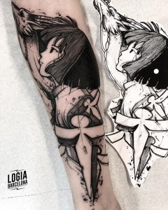 blackwork tattoo - anime - Logia Barcelona