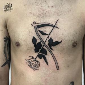 blackwork - rosa negra - Logia Barcelona