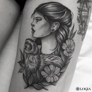 tatuaje-pierna-retrato-comic-logia-barcelona-Beve