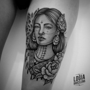 tatuaje-pierna-retrato-tradicional-logia-barcelona-Beve