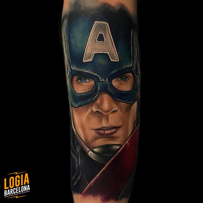 Realismo tatuaje retrato Capitan America Logia Barcelona