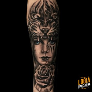 tattoo_brazo_guerrera_tigre_bruno_don_lopes_logia_barcelona