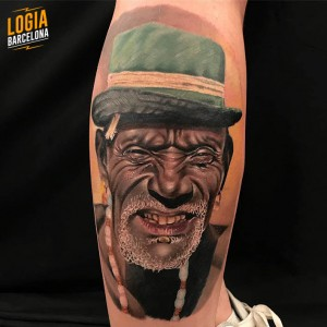 tattoo_pierna_hombre_africano_sombrero_bruno_don_lopes_logia_barcelona