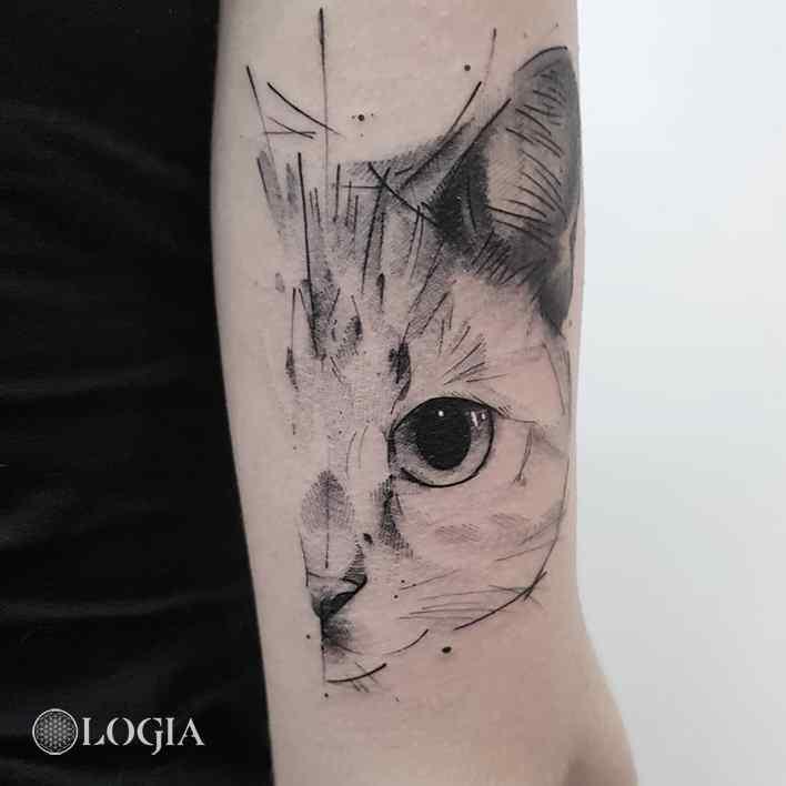 Tatuaje de gato boceto sketch Logia Barcelona Dani Bastos