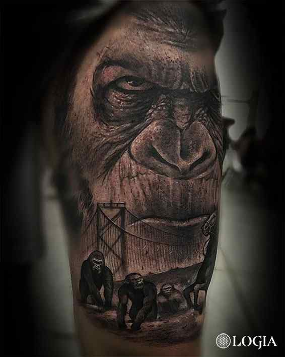 tatuaje gorila realista