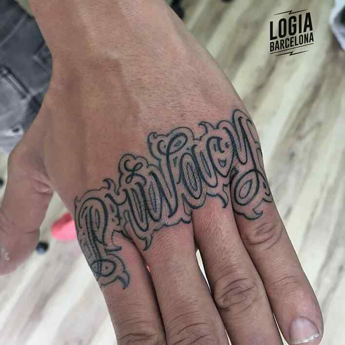 lettering knuckle tattoo