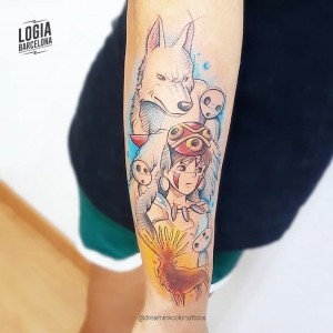 tatuaje_brazo_mononoke_gamer_dreamink_logia_barcelona