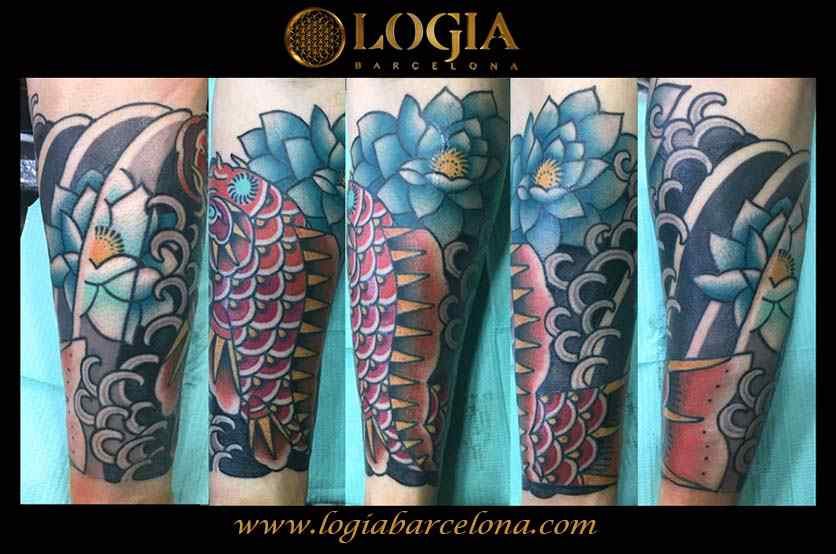 tatuaje japones antebrazo carpa logia barcelona