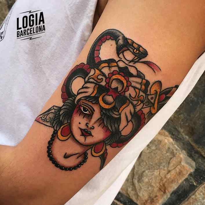 Old school Snake Tattoo Logia Barcelona