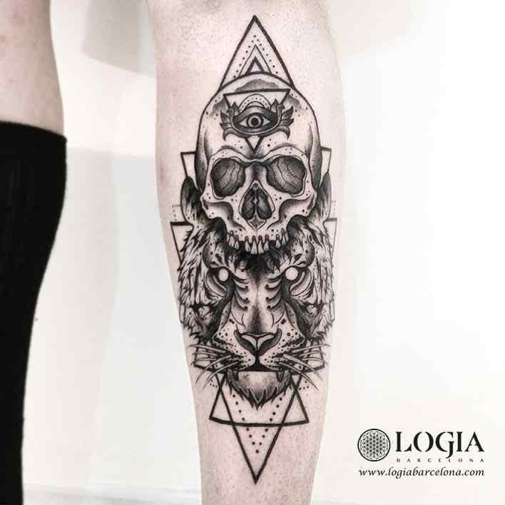 tatuaje-brazo-calavera-tigre-logiabarcelona-franki