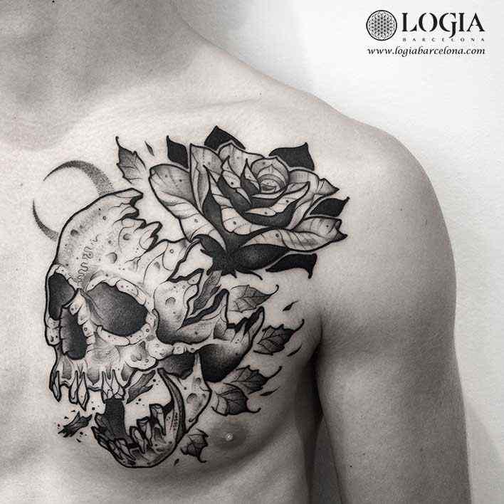 tatuaje-pecho-calavera-flor-logiabarcelona-franki