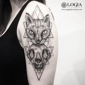 tatuaje-brazo-gato-calavera-logiabarcelona-franki
