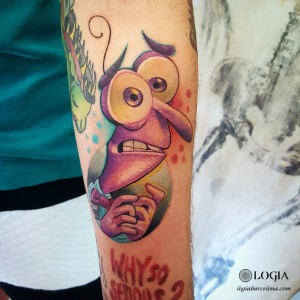 tatuaje-color-brazo-cartoon-logia-barcelona-gianluca-modesti