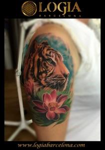 tatuaje-hombro-tigre-loto-Logia-Barcelona-Grego