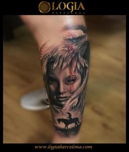 tatuaje-pierna-india-leon-Barcelona-Grego