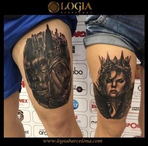 tatuaje-pierna-retratos-Logia-Barcelona-Grego