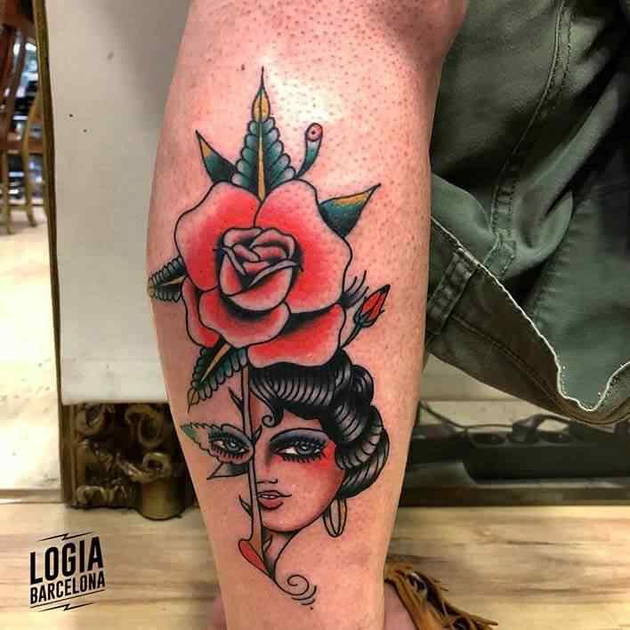 tatuaje tradi mujer rosa julio voltaje logia barcelona