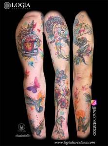 tatuaje-brazo-jaula-animales-flores-logia-barcelona-kaone