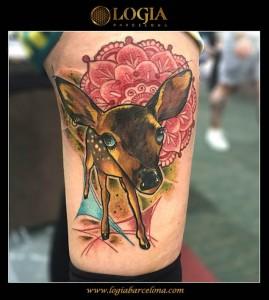 tatuaje-pierna-cervatillo-logia-barcelona-kaone