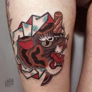 tatuaje_japones_pierna_tigre_lelectric_Logia_Barcelona