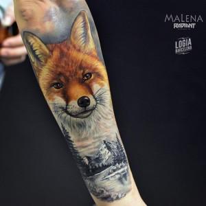 tatuaje_brazo_zorro_malena_logia_barcelona