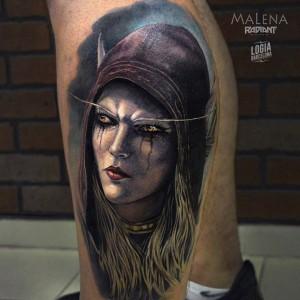 tatuaje_pierna_warcraft_sylvana_malena_logia_barcelona