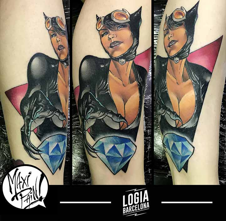 tatuaje catwoman comic pin up maxi pain logia barcelona