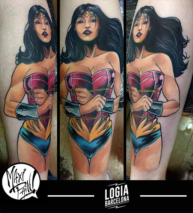 tatuaje wonderwoman comic pin up maxi pain logia barcelona