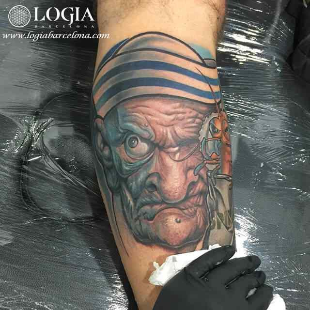 Tatuaje Popeye realista - Logia Barcelona Pia Vegas