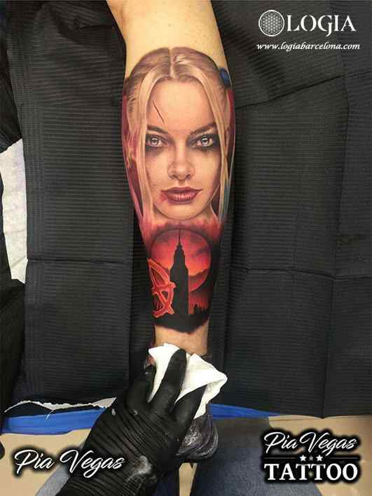 girl power tattoo harley quinn portrait logia barcelona
